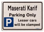 Maserati Karif Car Owners Gift| New Parking only Sign | Metal face Brushed Aluminium Maserati Karif Model